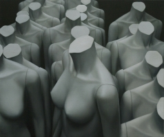 The Queue, 80 -95 cm, 2020,  oil on canvas.