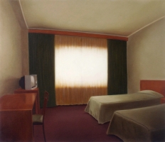 Hotelroom with television, 140-120 cm, 1995, oil on canvas.